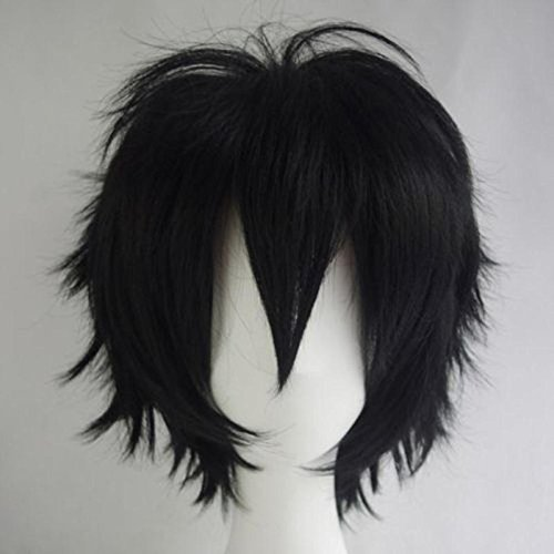 Women Mens Short Fluffy Straight Hair Wigs Anime Cosplay Party Dress Costume  Wig (Black) 382cc322e698