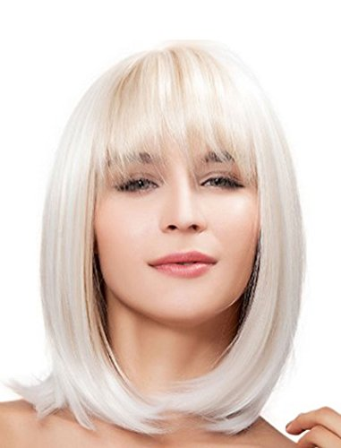 Tsnomore Shoulder length Natural Women s Bob style Straight Women Blonde  Heat resistant Cosplay Full Hair Wig ce242cc516