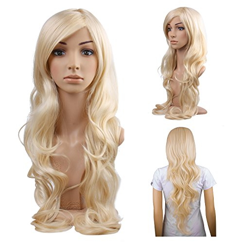 MelodySusie Cosplay Blonde Curly Wig - Gorgeous Women Long Curly Wig with  Free Wig Cap ( 86bd598c6e