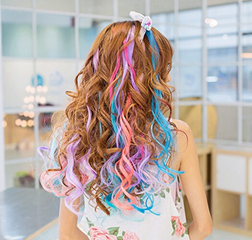 Swacc 22 pcs colored party highlights clip on in hair extensions extensions multi colors hair streak prev pmusecretfo Images